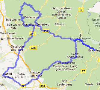 Route on map