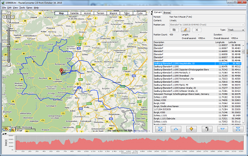 A screenshot of RouteConverter